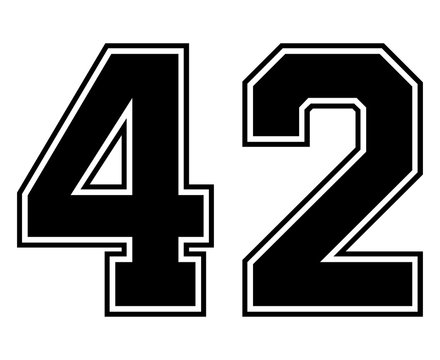 Classic Vintage Sport Jersey Number 42 in black number on white background for american football, baseball or basketball / logos and t-shirt.