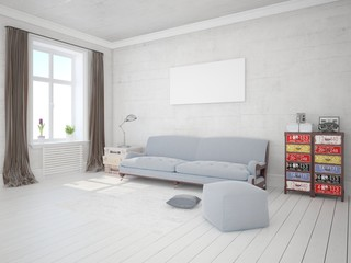 Mock up a stylish living room with trendy, functional furniture and a bright hipster backdrop.