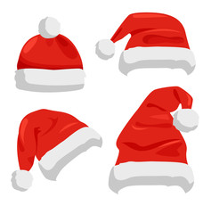 Hat of Santa Claus Closeup Vector Illustration