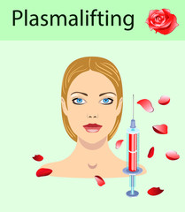 Cosmetology and beauty vector illustration. Beautiful woman having plasma lifting injection