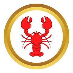 Crayfish vector icon in golden circle, cartoon style isolated on white background