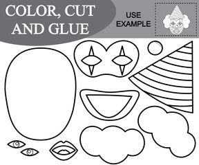 Color, cut and glue the image of amazed clown. Paper game for kids. Vector illustration