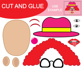 Create the image of clown using scissors and glue. Paper game for children. Vector illustration