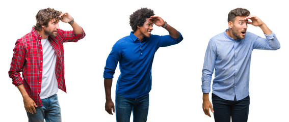 Collage of group of african american and hispanic men over isolated background very happy and smiling looking far away with hand over head. Searching concept. Wall mural