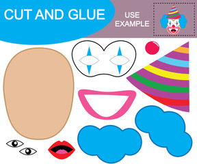 Create the image of face of amazed clown using scissors and glue. Paper game for children. Vector illustration