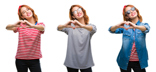 Collage of young beautiful redhead woman over isolated background smiling in love showing heart symbol and shape with hands. Romantic concept.
