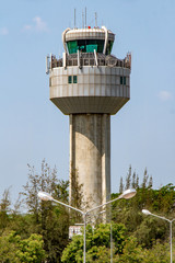 Airport Control Tower, Mandalay, Myanmar. International airport of Mandalay, Burma.