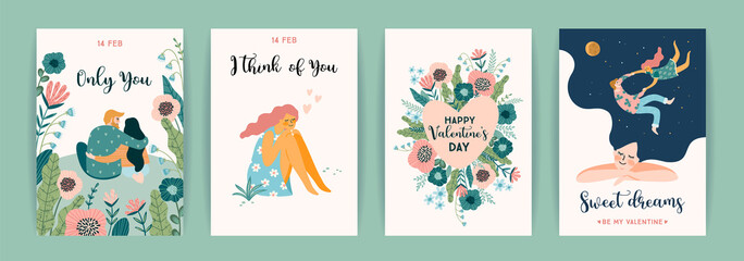 Romantic set of cute illustration. Vector design concept for Valentines Day and other users.