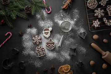 Preparing gingerbread coockies christmas background