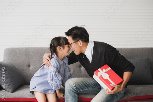 Asian Father Give Present For Daughter And Kiss Concept Surprise Gift Box Birthday