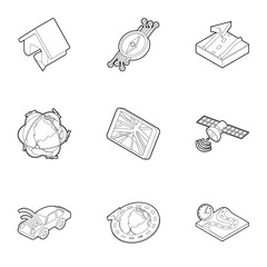 Location icons set. Outline illustration of 9 location vector icons for web