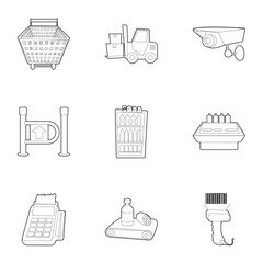 Shop icons set. Outline illustration of 9 shop vector icons for web