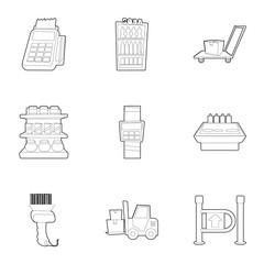 Supermarket icons set. Outline illustration of 9 supermarket vector icons for web