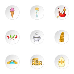 Holiday in Venice icons set. Cartoon illustration of 9 holiday in Venice vector icons for web