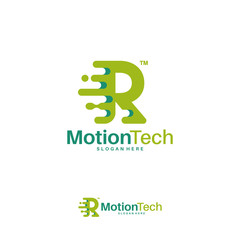 Fast Move R Initial Technology logo template, Motion R Letter Tech logo symbol, Logo icon template