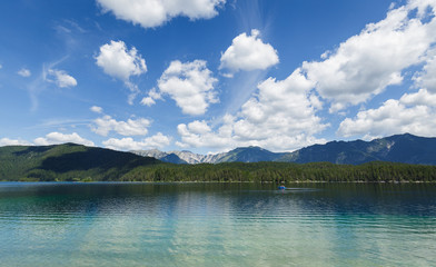 Beautiful weather at the Eibsee, perfect for a relaxing ride in the pedal boat.