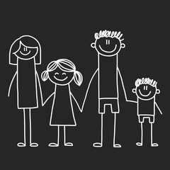 Happy family with children. Illustration on blackboard. Kindergarten illustration.