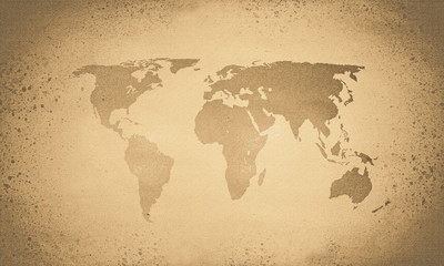 Vintage sepia world map