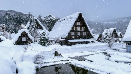Wall Mural - Snowfall in Shirakawa-go village in winter, UNESCO world heritage sites, Japan.