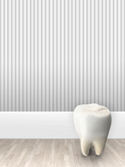 3d illustration rendering of teeth against grey striped wallpaper background
