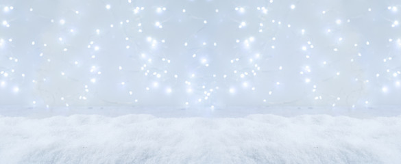 White christmas background banner with snow and lights
