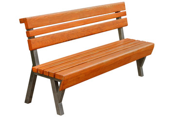 Brown wooden bench.