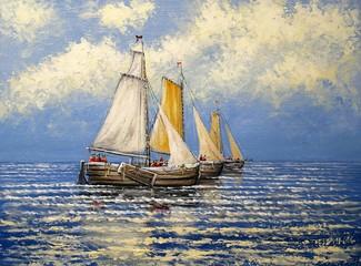 Oil paintings sea landscape. Fisherman, boats.