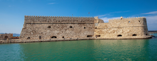 Koules Fortress in Heraklion. Island of Crete in Greece. Koules fortress on the sea, tourist attraction of the city of Heraklion. Historic building in Crete.
