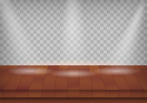 perspective wooden stage template with red wood texture, use for perform show  background and product industry design vector eps 10