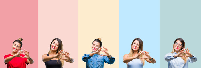 Collage of young beautiful woman over colorful stripes isolated background smiling in love showing heart symbol and shape with hands. Romantic concept.