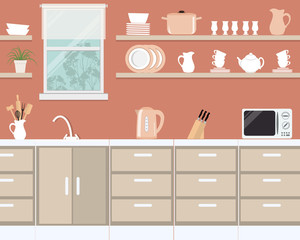 Kitchen interior in orange color. There is a microwave, a kettle, plates, cups, knives and other kitchen tools on a window background. There is also room flower on the shelf. Vector illustration