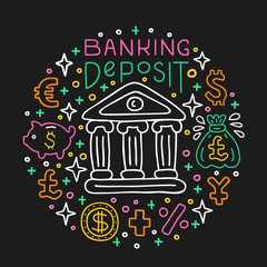 Banking deposit investing. Investment handdrawn doodle EPS 10 vector illustration. Lettering text inscription. Capital expenditure finance business commercial economics concept. E-currency,