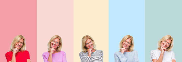 Collage of middle age senior beautiful woman over colorful stripes isolated background looking confident at the camera with smile with crossed arms and hand raised on chin. Thinking positive.