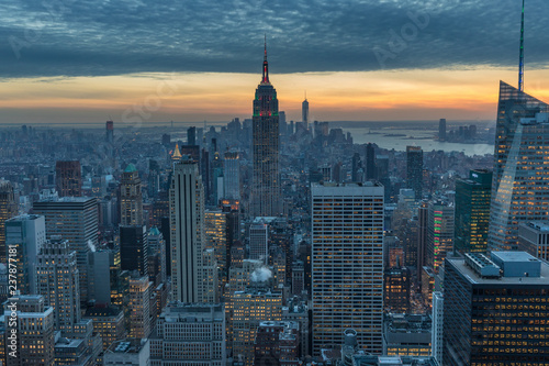 Fototapete New York City skyscrapers, aerial panorama view