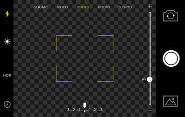 smartphone camera screen view template with transparent background and landscape format use for video and photograph application, vector eps 10