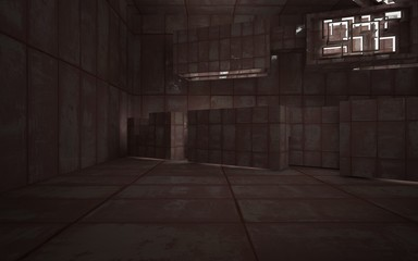 Empty abstract room interior of sheets rusted metal and concrete. Architectural background. 3D illustration and rendering