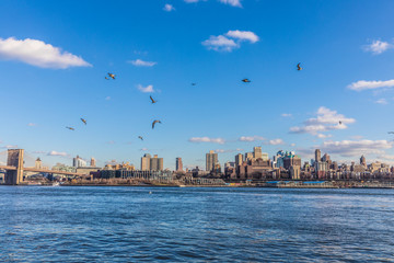 Fototapete - View with Manhattan, New York