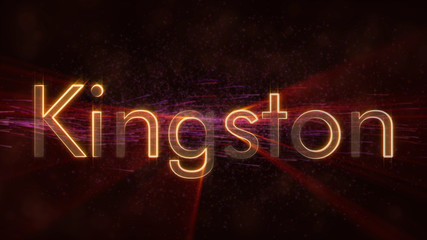 Kingston - Shiny looping city name in Jamaica, text animation