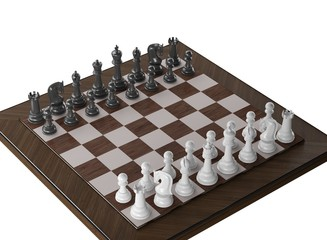 Wooden Chess on white blackground. High resolution 3d render illustration