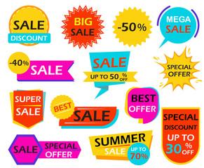 Set of sale banner design element tags - Vector illustration