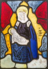 Fifteenth century stained glass window madonna and child in church of Saint Matthew, Rushall, Wiltshire, England, UK madonna and child