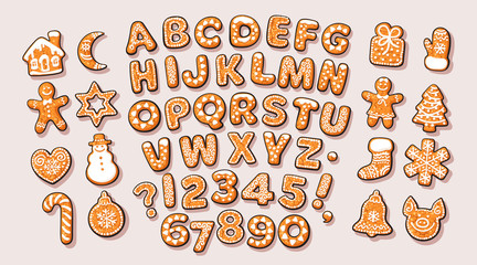 Christmas and New Year gingerbread alphabet and cute traditional holiday cookies. Sugar coated letters and numbers. Cartoon hand drawn isolated vector.