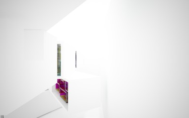 Poster Echelle de hauteur abstract architectural interior with white sculpture and geometric glass lines. 3D illustration and rendering