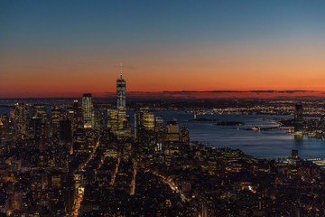Fototapete - New York City skyscrapers, aerial panorama view
