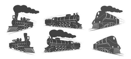 Locomotives vector elements logo design
