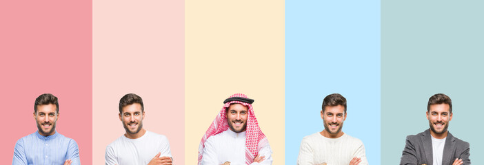Collage of handsome young man over colorful stripes isolated background happy face smiling with crossed arms looking at the camera. Positive person.