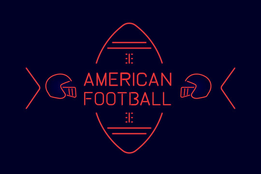 Vector american football text design with neon style isolated on dark background.