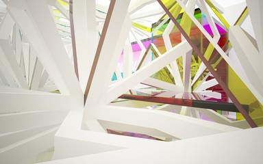 abstract architectural interior with gradient geometric glass sculpture with white lines. 3D illustration and rendering