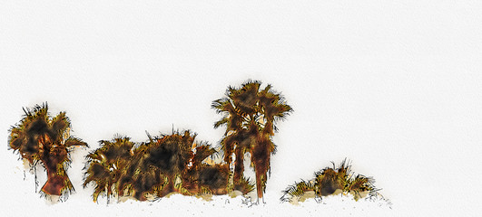 Los Angeles palm trees watercolor painting effect