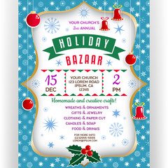 Poster for winter holiday bazaar. Invitation flyer with paper cut effect border and Christmas-tree decorations.